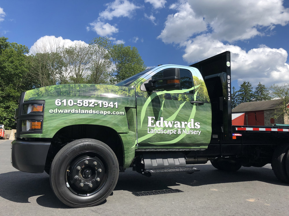 One of our trucks with branding graphics